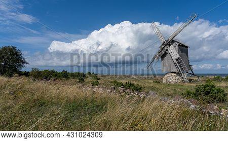 Ohessaare, Estonia - 15 August, 2021: View Of The Ohessaare Windmills On Saaremaa Island In Estonia