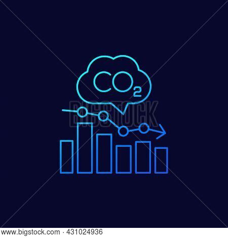 Co2, Carbon Emissions Levels Chart Linear Icon