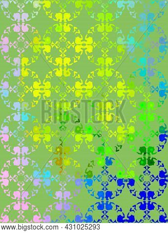 Abstract Vector Digital Stylized Yellow, Blue And Green Picture. Mixed Media Artwork For Textiles, F