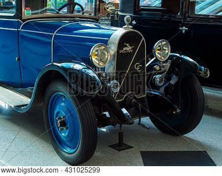 Moscow, Russia - May 26, 2021: Blue Antique Car At The Exhibition Of Retro Transport At Domodedovo A