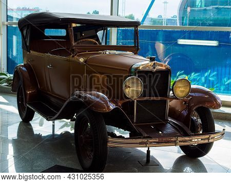 Moscow, Russia - May 26, 2021: Brown Antique Car At Domodedovo Airport