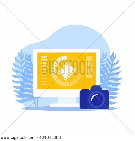 Video Importing From Camera To Computer, Vector