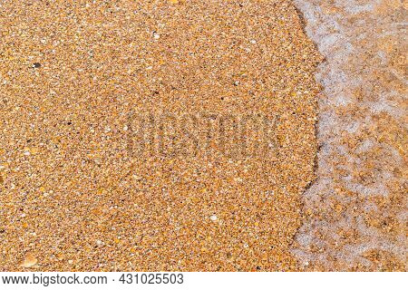 Beach Horizontal Background: Fine Golden Shell Rock And Wave