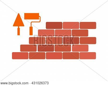 Brickwork With A Trowel And A Roller. Flat Icon, Stock Vector Illustration.