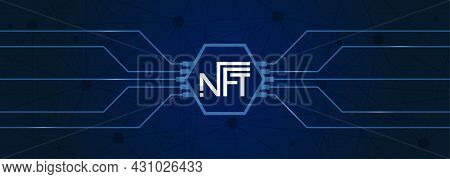 An Nft Token On A Dark Blue Background. Cryptocurrency For The Purchase Of Crypto Art. Scalable Vect
