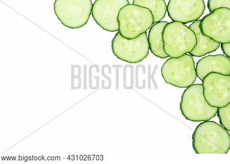 Frame Made From Fresh Sliced Cucumber Cross-sections On White Background.