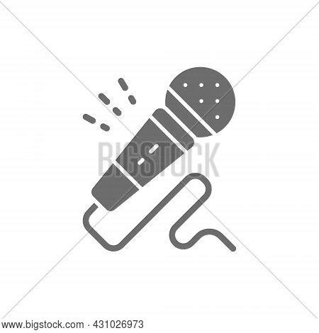 Microphone, Karaoke, Audio Equipment Grey Icon. Isolated On White Background