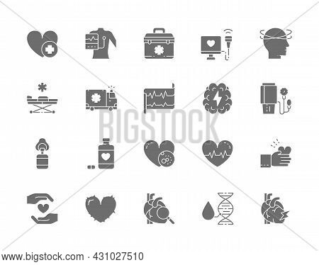 Set Of Heart Attack Grey Icons. Cardiogram, First Aid Kit, Heartbeat And More.