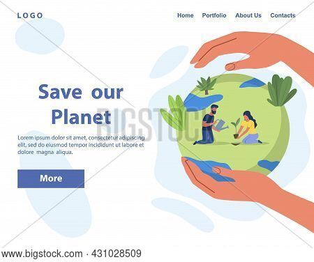 Caring For Planet And Environment. People Preserve Flora And Fauna Of Earth. Characters Plant Tree.