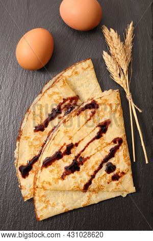 crepe with chocolate sauce- top view