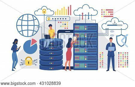 Visualization Of Information Data. Men And Women Analyze Company Statistics. Employees Get Access To