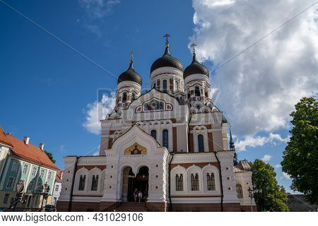 Tallinn, Estonia: 6 August, 2021: The Alexander Nevsky Cathedral In The Heart Of The Old Town Of Tal