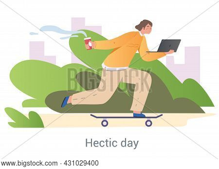 Hard Working Day Concept. Male Character With Laptop And Cup Of Coffee Rides Skateboard To Office. E
