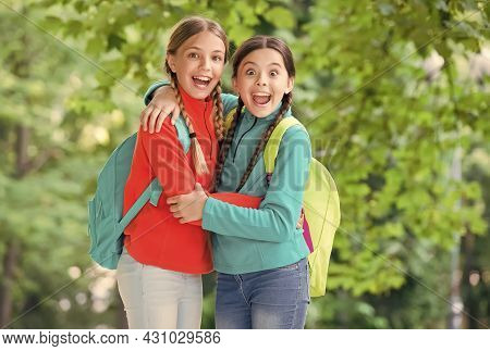 Friends For Life. Happy Friends Embrace Summer Outdoors. Childhood Friends. Small Sisters Or Sibling