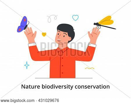 Conservation Of Insects, Animals And Plants. Man Takes Care Of Butterflies, Dragonflies And Other In