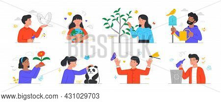 Collection Of Characters Who Care About Nature. Men And Women Protect Plants And Animals. Recycling