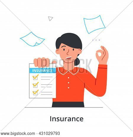 Employee Of Insurance Company. Woman Holds In Hand List With Various Insurance Directions. Minimizat