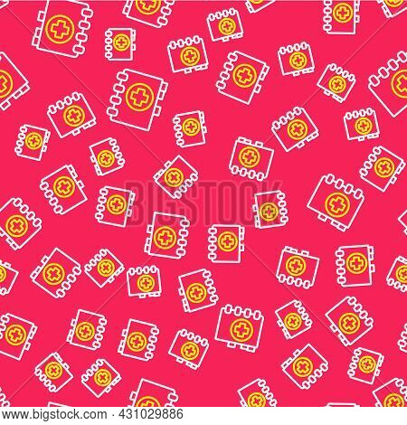 Line Medical Clipboard With Clinical Record Icon Isolated Seamless Pattern On Red Background. Prescr