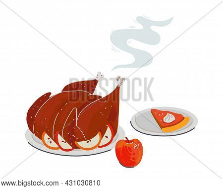Thanksgiving Holiday Dinner. Roast Turkey With In Apples And Sweet Pumpkin Pie With Cream. Cooked Po