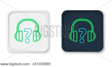 Line Headphones Icon Isolated On White Background. Support Customer Service, Hotline, Call Center, F