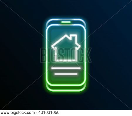 Glowing Neon Line Online Real Estate House On Smartphone Icon Isolated On Black Background. Home Loa