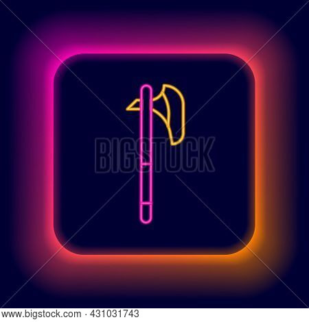 Glowing Neon Line Medieval Axe Icon Isolated On Black Background. Battle Axe, Executioner Axe. Medie