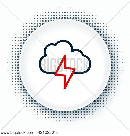 Line Storm Icon Isolated On White Background. Cloud And Lightning Sign. Weather Icon Of Storm. Color