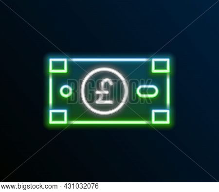 Glowing Neon Line Pound Sterling Money Icon Isolated On Black Background. Pound Gbp Currency Symbol.