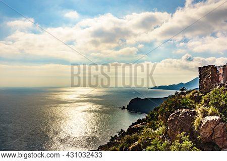 Coastal Landscape Seen From La Amatista Viewpoint In Spain. Cabo De Gata Nijar Natural Park, Provinc