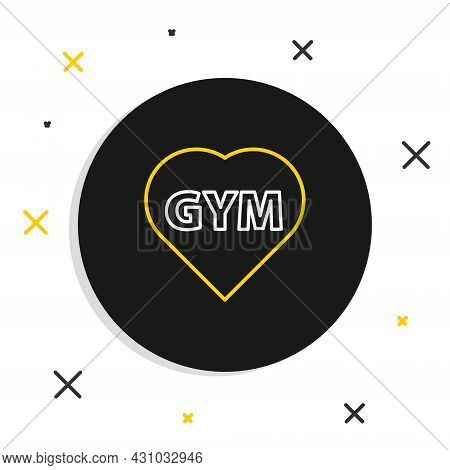 Line Fitness Gym Heart Icon Isolated On White Background. I Love Fitness. Colorful Outline Concept.