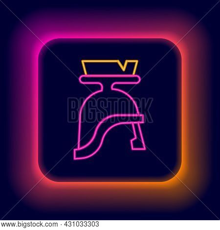 Glowing Neon Line Roman Army Helmet Icon Isolated On Black Background. Colorful Outline Concept. Vec