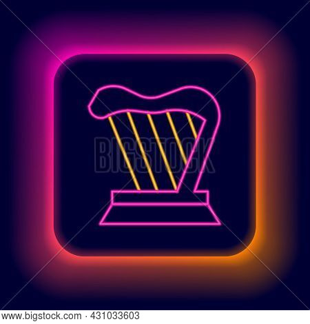 Glowing Neon Line Harp Icon Isolated On Black Background. Classical Music Instrument, Orhestra Strin