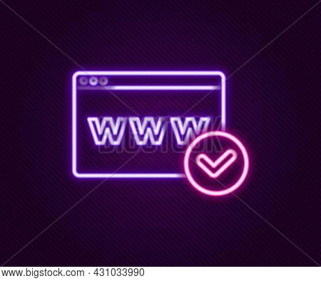 Glowing Neon Line Website Template Icon Isolated On Black Background. Internet Communication Protoco