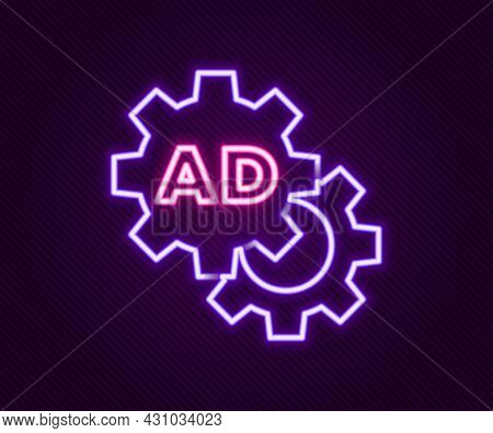 Glowing Neon Line Advertising Icon Isolated On Black Background. Concept Of Marketing And Promotion