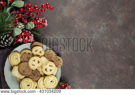 Biscuit. Background Texture. Chocolate Sponge Cake. Christmas. Place For Text