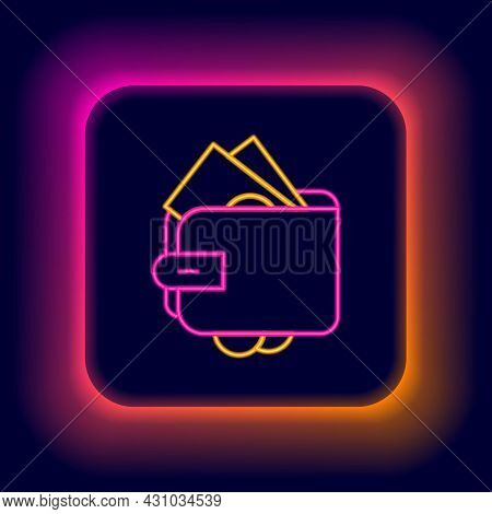 Glowing Neon Line Wallet With Stacks Paper Money Cash Icon Isolated On Black Background. Purse Icon.