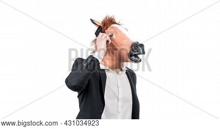Hardworking Man In Horse Head Talk On Mobile Phone Isolated On White, Business Communication