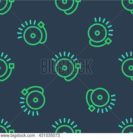 Line Ringing Alarm Bell Icon Isolated Seamless Pattern On Blue Background. Fire Alarm System. Servic