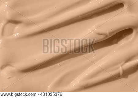 Beige Nude Liquid Foundation Texture, Concealer Smear Smudge Drop. Cosmetic Tonal Makeup Moisturizer