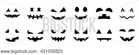 Scary And Funny Faces For Halloween Pumpkin Silhouette Icon. Spooky Faces Of Ghost Glyph Pictogram.