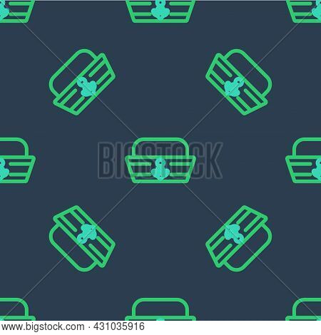 Line Sailor Hat Icon Isolated Seamless Pattern On Blue Background. Vector