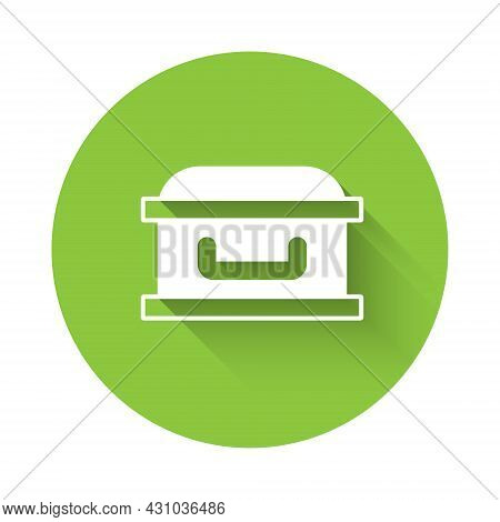 White Coffin With Christian Cross Icon Isolated With Long Shadow. Happy Halloween Party. Green Circl