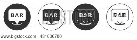 Black Alcohol Or Beer Bar Location Icon Isolated On White Background. Symbol Of Drinking, Pub, Club,