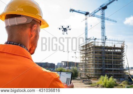 Aerial Surveillance Aircraft Or Drone. Digital Monitoring Technology