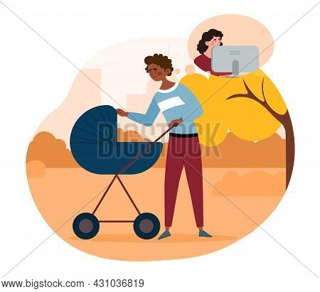 Concept Of Paternity Leave. Father Takes Care Of Child, Mother Works In Office And Earns Money. Man