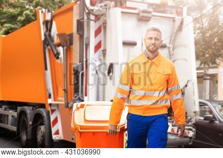 Garbage Removal Man Doing Trash And Rubbish Collection