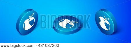 Isometric Apple Icon Isolated On Blue Background. Excess Weight. Healthy Diet Menu. Fitness Diet App