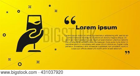 Black Wine Tasting, Degustation Icon Isolated On Yellow Background. Sommelier. Smells Of Wine. Vecto