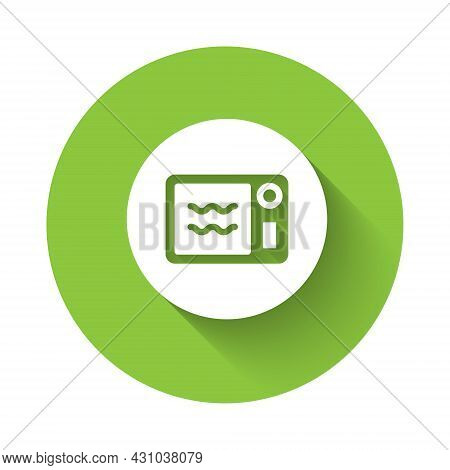 White Microwave Oven Icon Isolated With Long Shadow Background. Home Appliances Icon. Can Be Heated