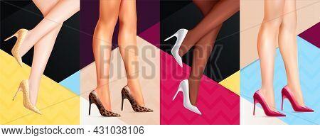 Women Legs In High Heel Shoes 4 Realistic Colorful Background Formal Festive Casual Footwear Adverti